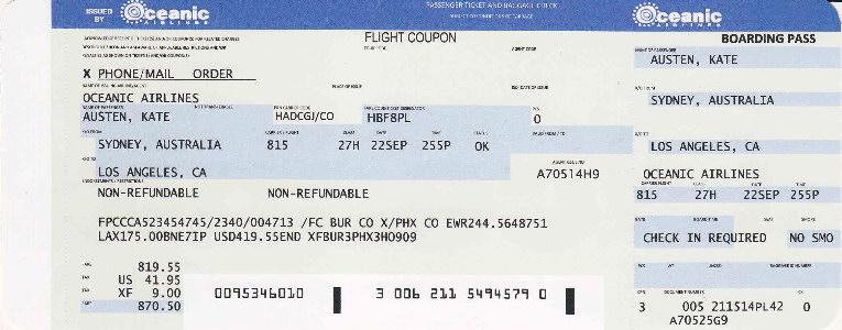 Custom Made Flight Tickets For Oceanic Airlines Flight 815