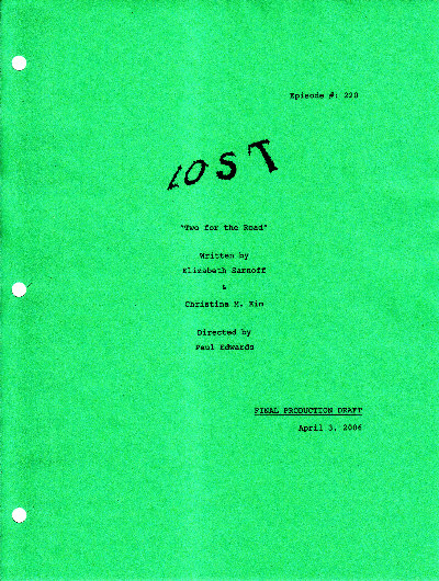 LOST Script S2E20 - Two for the Road - lostified com - LOST